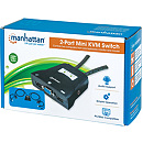 Manhattan 2-Port Mini KVM Switch, USB, Audio, Black