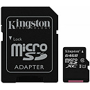 Kingston microSDXC, 64GB, Class 10 UHS-I + SD Adapter