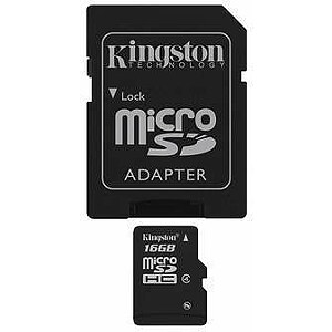 Kingston microSDHC, 16GB, Class 4, SD Adapter